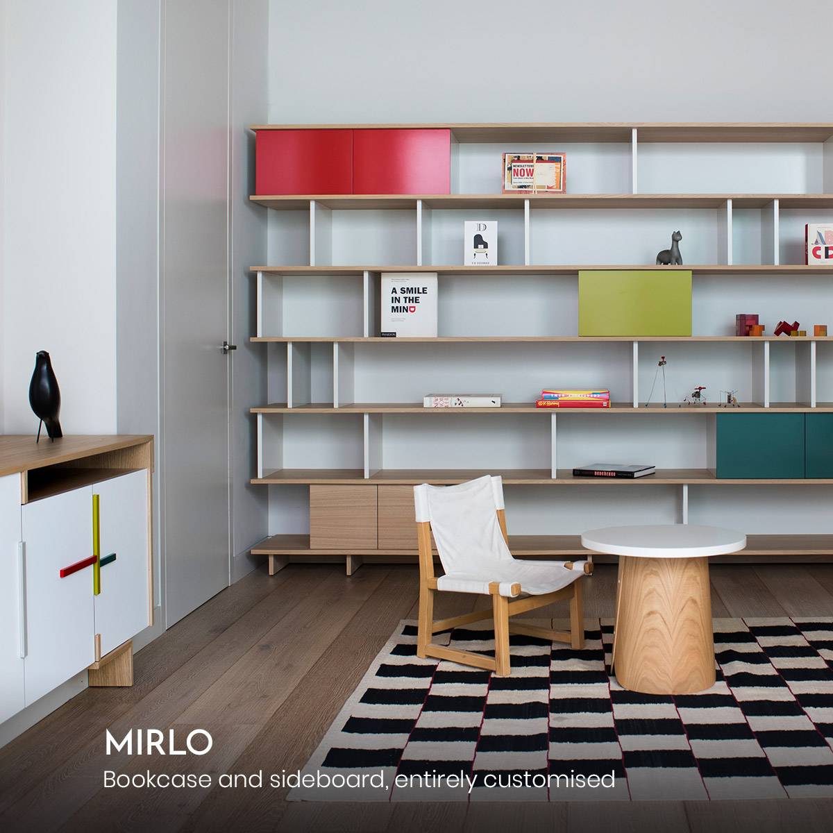 Mirlo, bookcase and sideboard, entirely customised